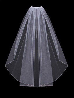 English tulle veil with beaded and clear crystal edge