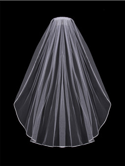 English tulle veil with satin corded edge