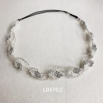 Pearl leaves silver headband