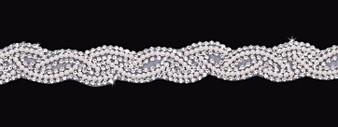 Organza headband with rhinestone and pearl bead accents