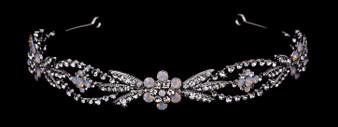 Rhodium plated rhinestone headband with opals