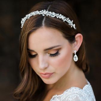 Rhodium plated rhinestone headband with clear crystal accents