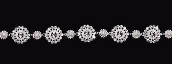 Rhodium plated rhinestone and pearl bead headband