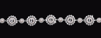Rhodium plated rhinestone and pearl bead headband