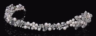 Rhodium plated rhinestone, crystal, and pearl bead headband