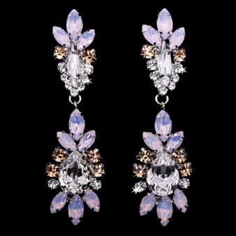 Rhodium plated rhinestone earrings E1968