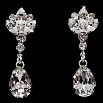 Rhodium plated rhinestone earrings E1872