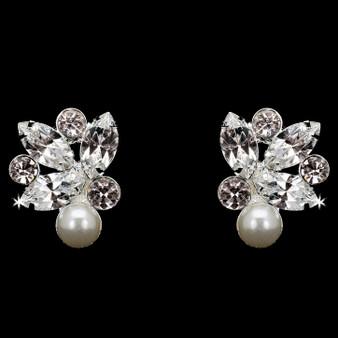 Rhodium plated rhinestone and pearl bead earrings E1869