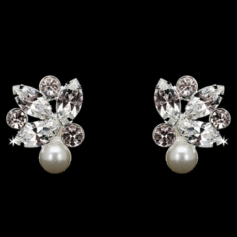 Rhodium plated rhinestone and pearl bead earrings E1869