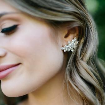 Rhodium plated rhinestone earrings E1761