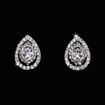 Rhodium plated rhinestone earrings E1665