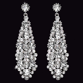 Rhodium plated rhinestone earrings E1562