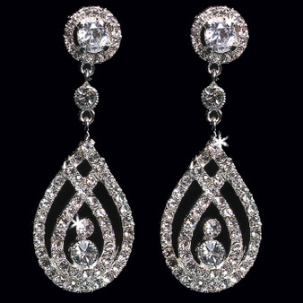 Rhodium plated rhinestone earrings E1362