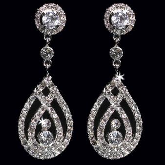 Rhodium plated rhinestone earrings E1362