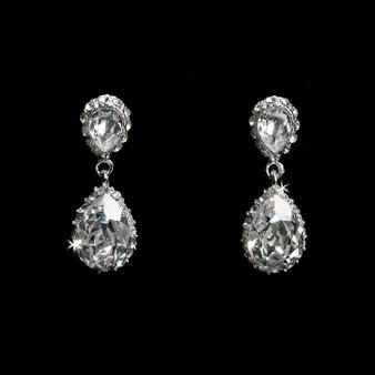 Rhodium plated rhinestone earrings E1294