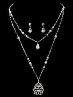 Rhodium plated pearl bead and rhinestone necklace with matching earrings NL1861