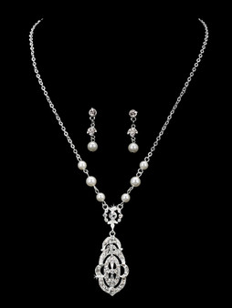 Rhodium plated pearl bead and rhinestone necklace with matching earrings NL1860