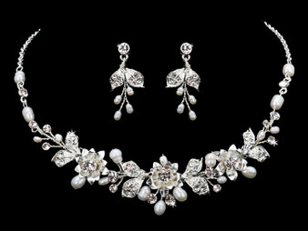 Rhodium plated pearl bead and rhinestone necklace with matching earrings NL1857