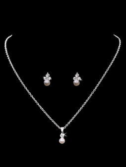 Rhodium plated rhinestone and pearl necklace with matching earrings NL1818