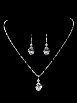 Rhodium plated rhinestone necklace with matching earrings NL1808