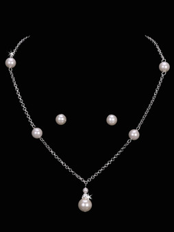 Pearl bead chain necklace with matching earrings NL1656