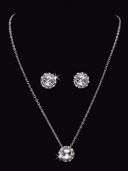 Rhodium plated rhinestone necklace with matching earrings NL1551