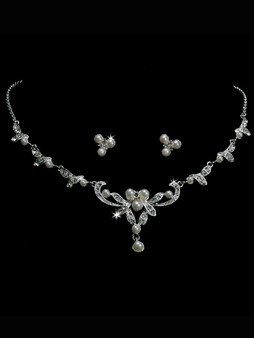 Rhodium plated pearl bead and rhinestone necklace with matching earrings NL1216