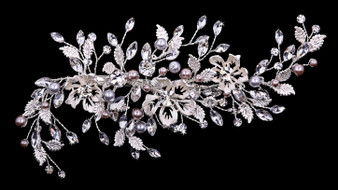 Rhodium plated hair comb with rhinestone and pearl bead accents HC1933