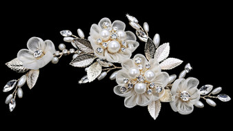 Rhodium plated hair comb with fabric flowers, pearl bead and rhinestone accents HC1837 - light gold