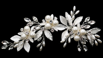 Rhodium plated hair comb with rhinestone and pearl bead accents HC1834 - silver