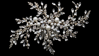 Rhodium plated hair comb with rhinestone and pearl bead accents HC1833