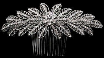 Rhodium plated hair comb with rhinestone accents HC1830