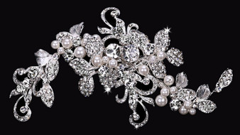 Rhodium plated hair comb with rhinestone and pearl bead accents HC1634