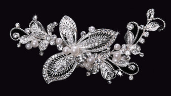 Rhodium plated hair comb with rhinestone and pearl bead accents HC1529
