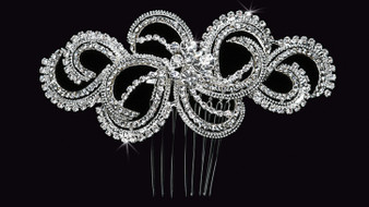 Rhodium plated hair comb with rhinestone accents HC1429