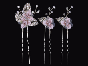 Metal hair pin set with fabric flowers and rhinestone accents HP1730