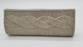 Silver beaded rhinestone purse with twisted detail.