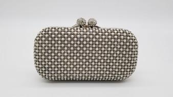 Silver Rhinestone & pearl Embellished Clutch