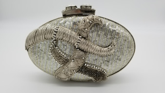 Beaded Silver Oval Purse with Embossed Detail