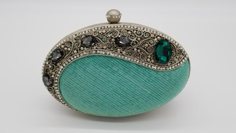 Turquoise and Silver Oval Purse with Jewels