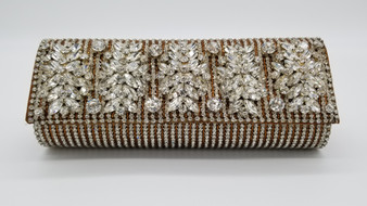 Swarovski Crystal Encrusted 3D Beaded Bronze Purse with Flap Front