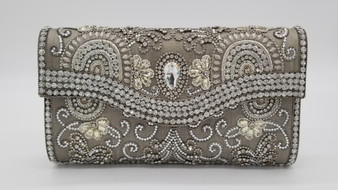 Rhinestone Beaded Silver Purse with Flap Front