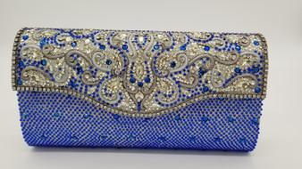 Blue, silver, yellow rhinestone embellished vintage clutch bag with silver design.