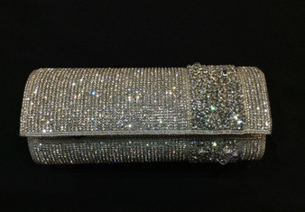 Rhinestone Beaded Silver Purse with Right Side Accent TRBA29
