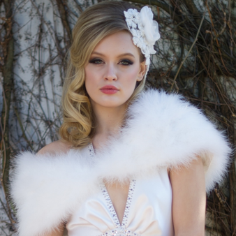 Vintage-inspired marabou feather stole SG1-3276
