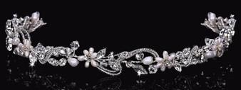 Rhodium plated rhinestone, crystal, and cultured pearl headband