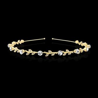 Crystal Chic Headband - Single Row Gold (S-HB201)
