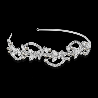 Vintage Chic Hair Band - Ivory HB403 (Silver)