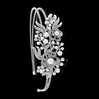 Vintage Floral Headband - HB404 Silver