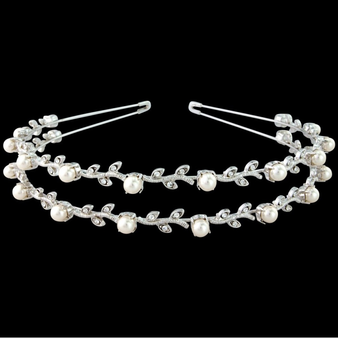 Swarovski Crystal & Pearl Headband - Double Row - S-HB100